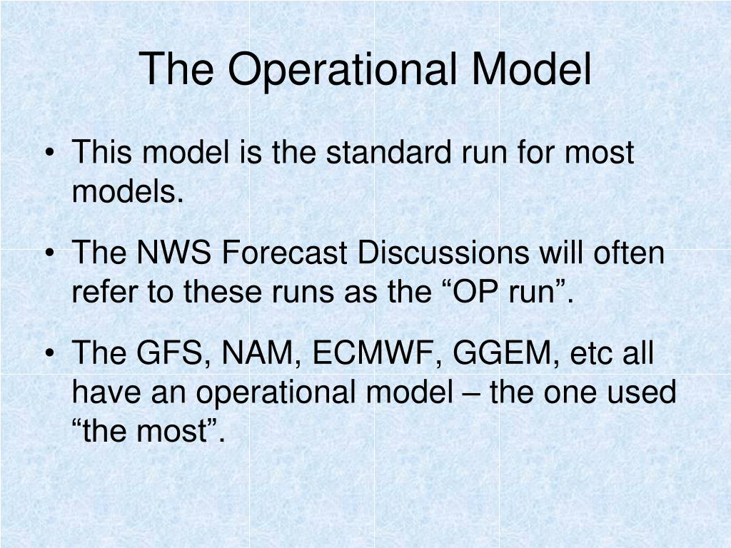 The Operational Model