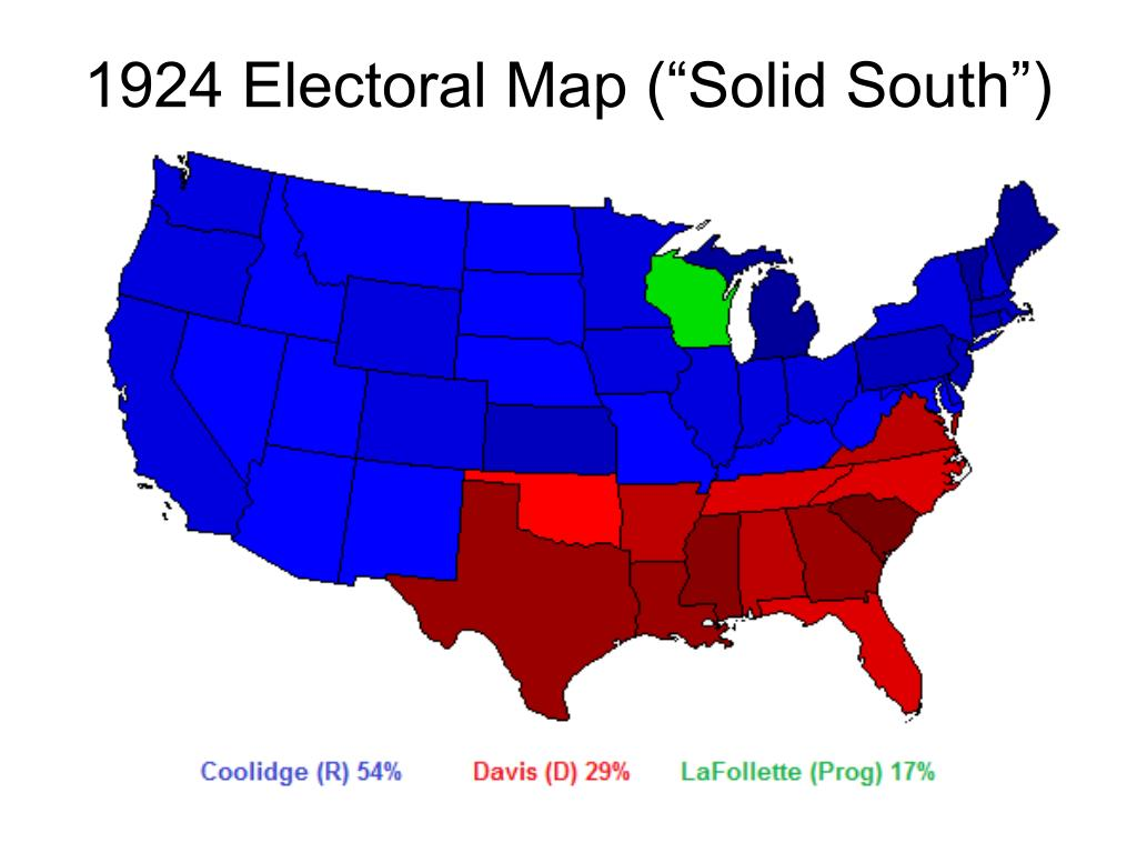 "1924 Electoral Map (""Solid South"")"