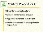 control procedures