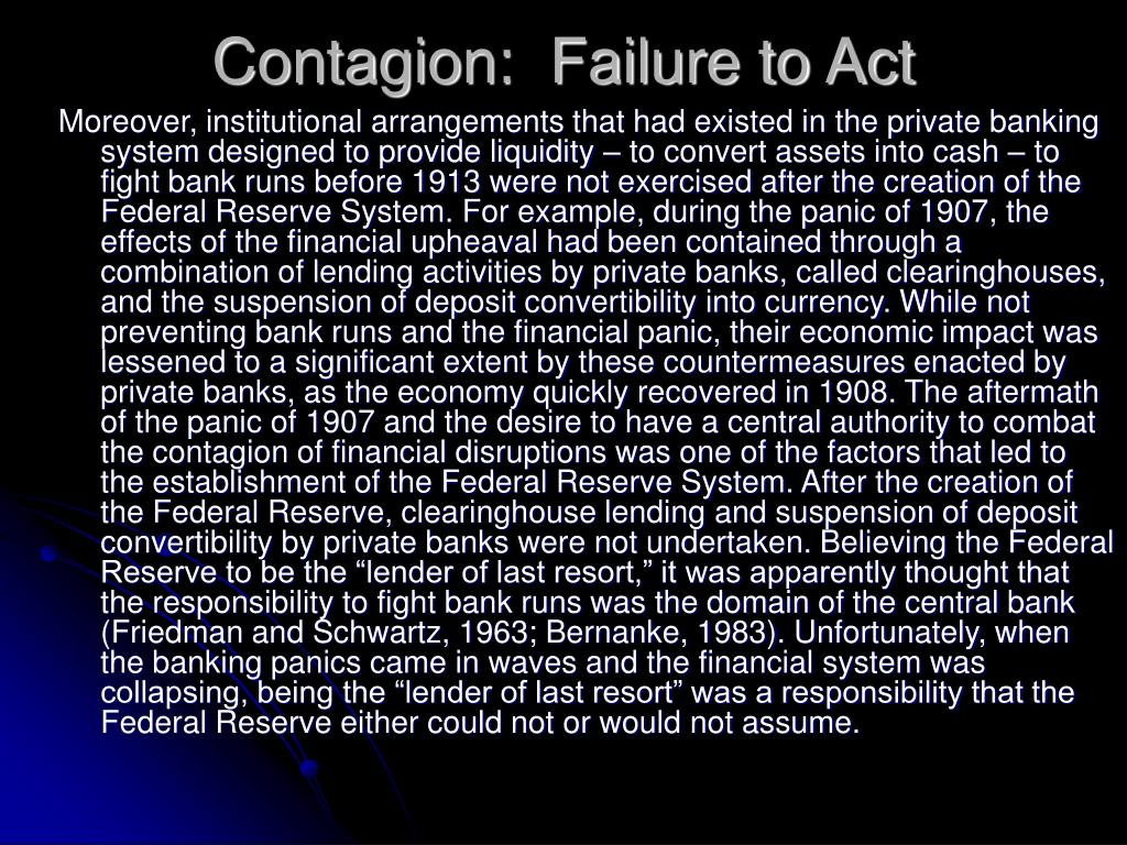 Contagion:  Failure to Act