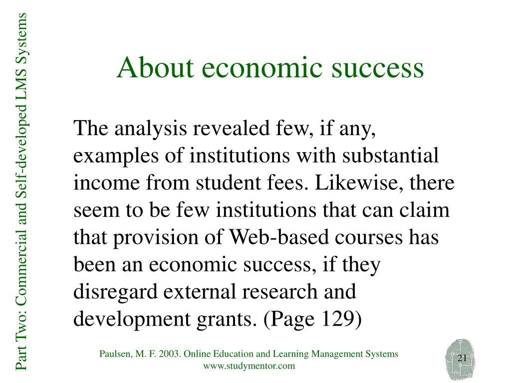 About economic success