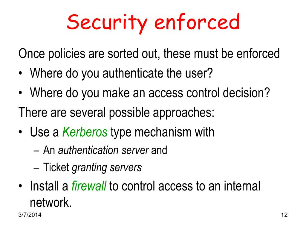 Security enforced