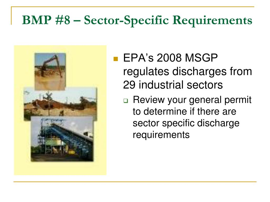 BMP #8 – Sector-Specific Requirements