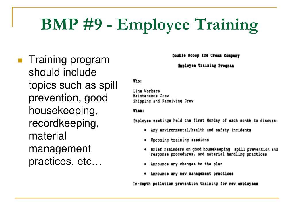 BMP #9 - Employee Training