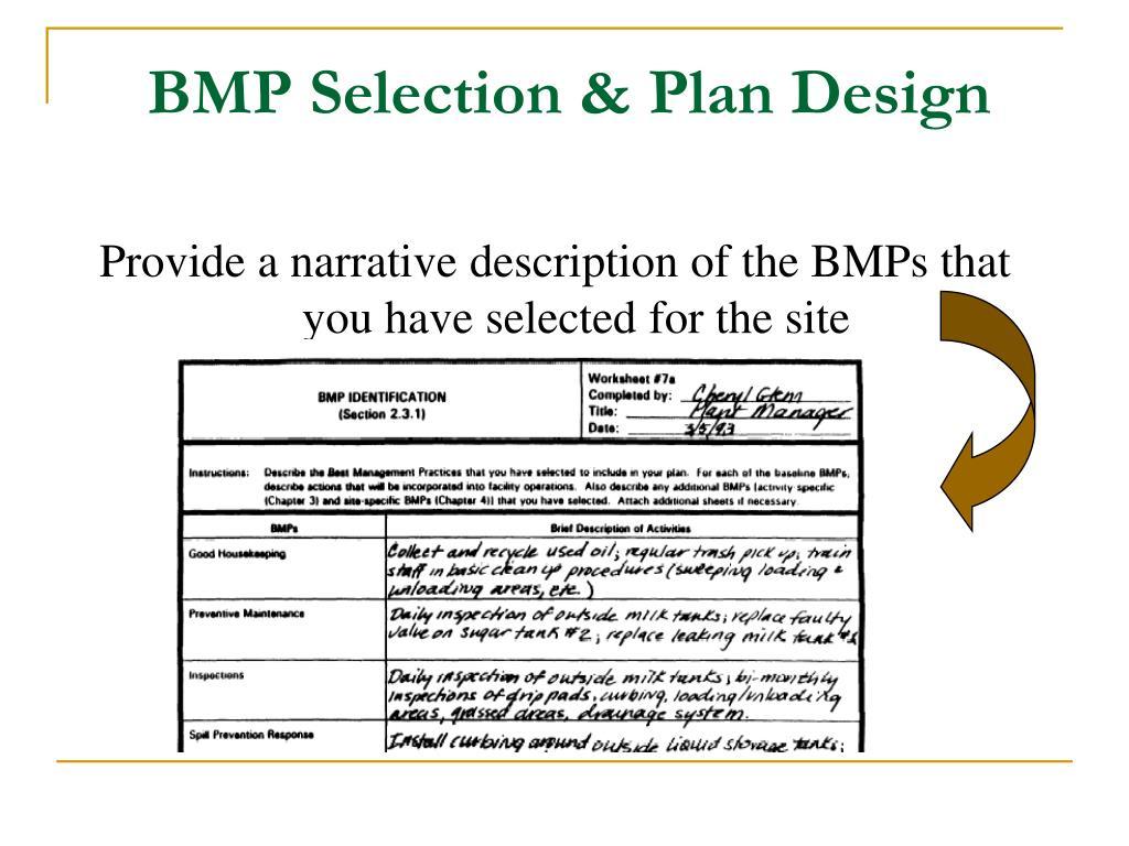 BMP Selection & Plan Design