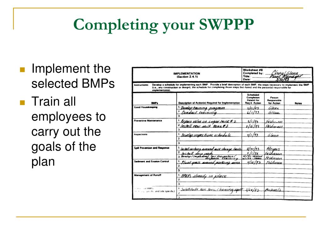 Completing your SWPPP