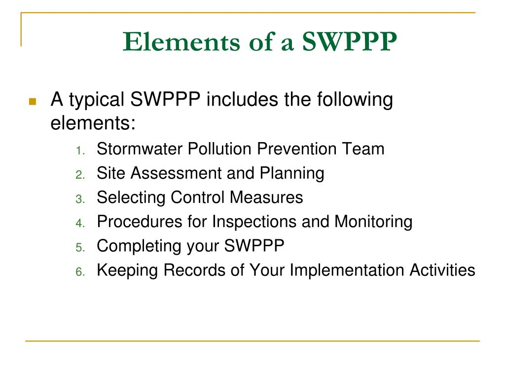 Elements of a SWPPP
