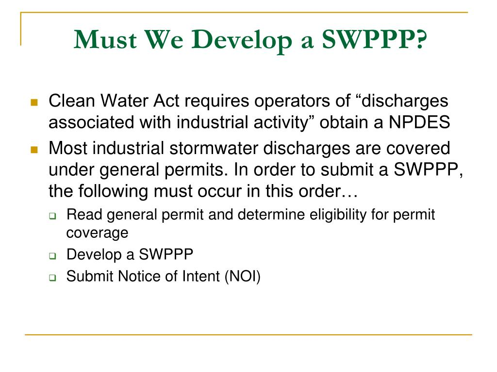 Must We Develop a SWPPP?