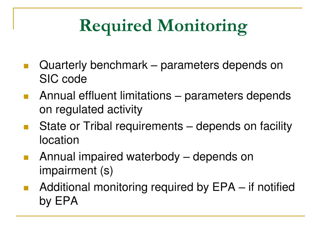 Required Monitoring