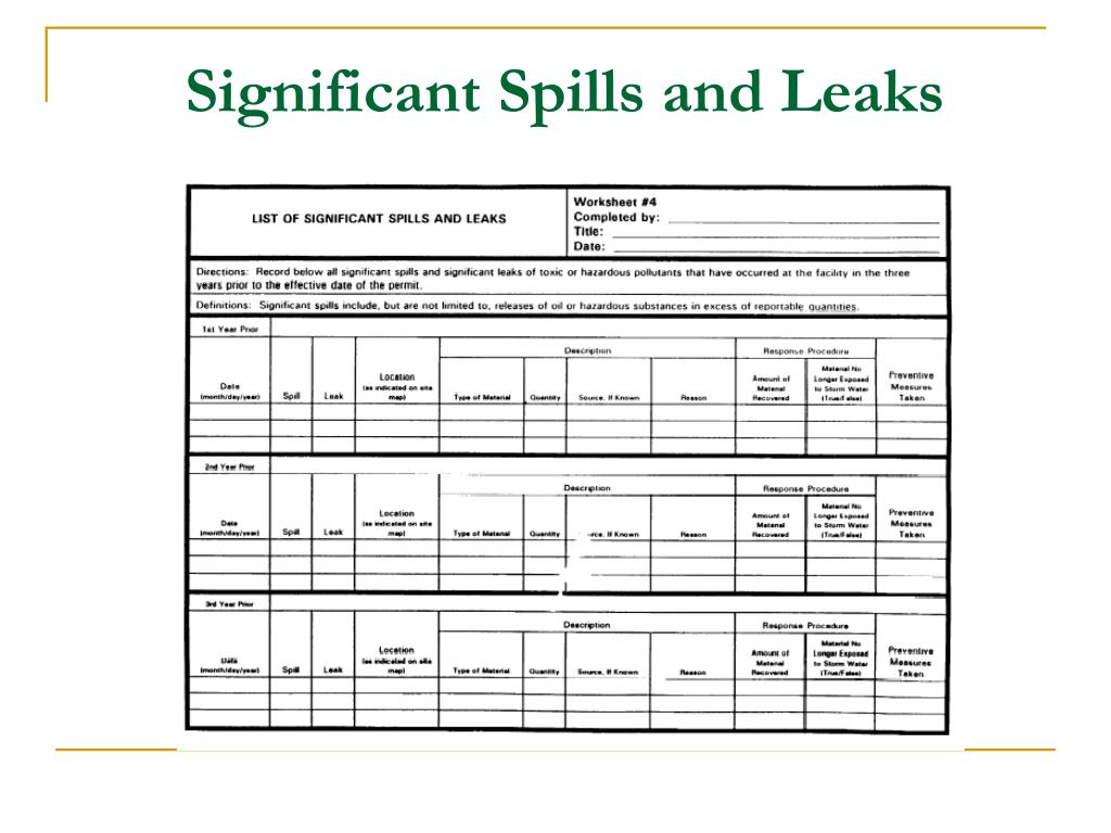 Significant Spills and Leaks