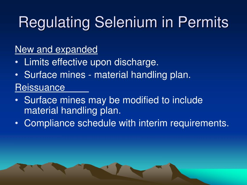 Regulating Selenium in Permits