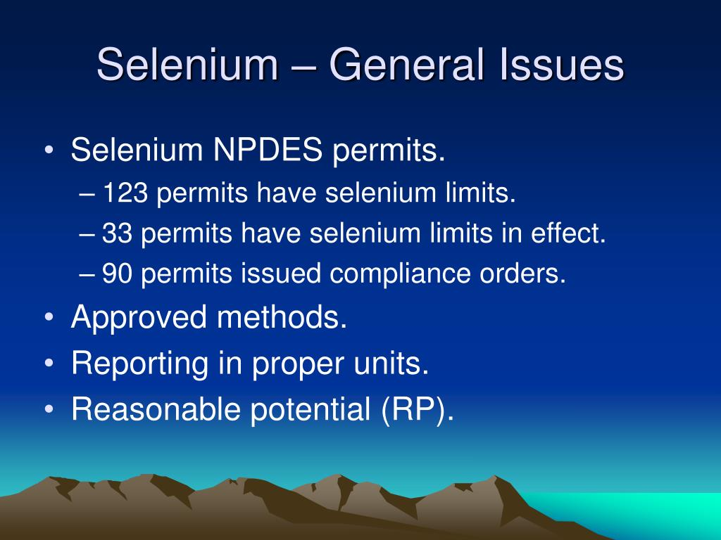 Selenium – General Issues