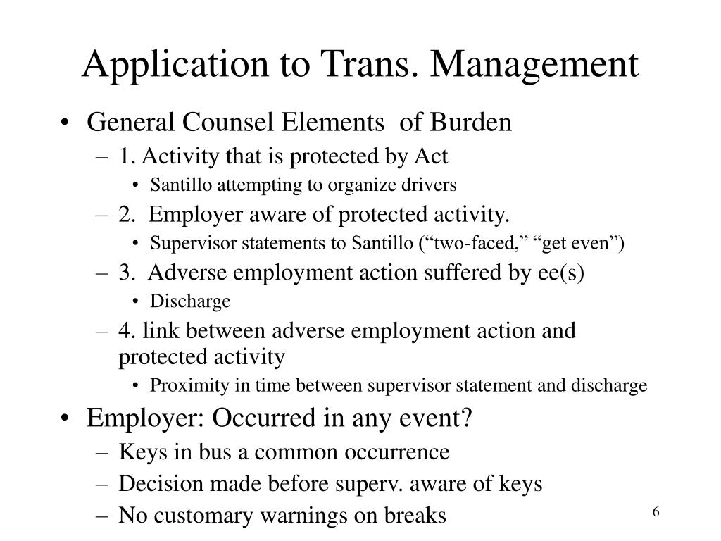Application to Trans. Management