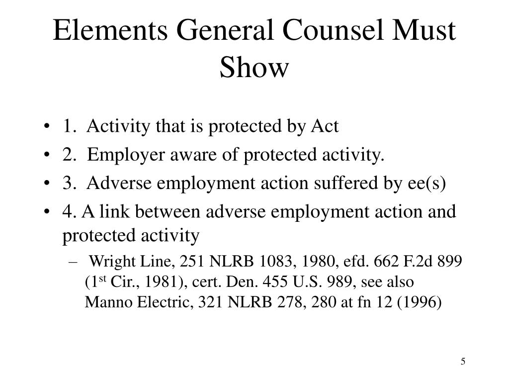 Elements General Counsel Must Show