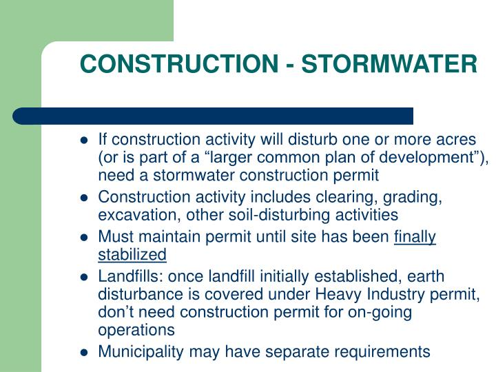 CONSTRUCTION - STORMWATER