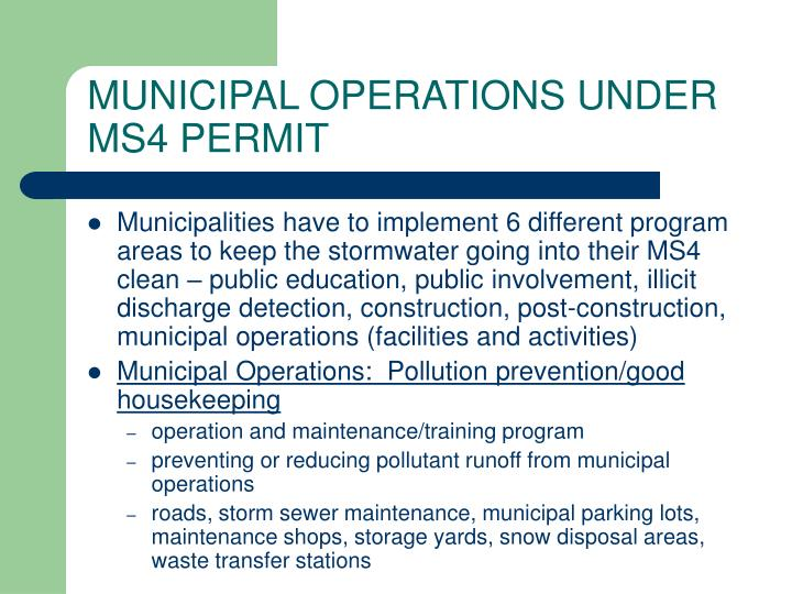 MUNICIPAL OPERATIONS UNDER MS4 PERMIT