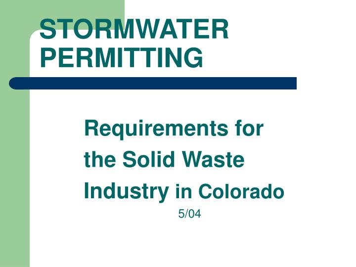 Requirements for the solid waste industry in colorado 5 04