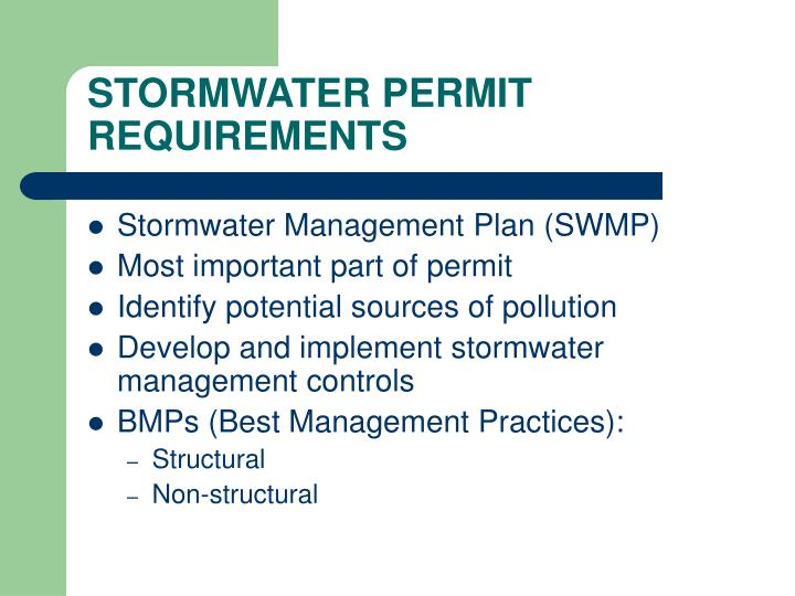 STORMWATER PERMIT REQUIREMENTS