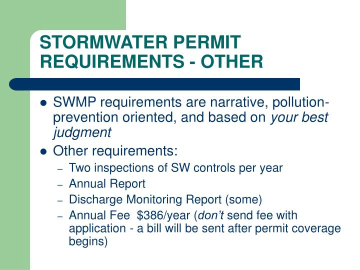 STORMWATER PERMIT REQUIREMENTS - OTHER