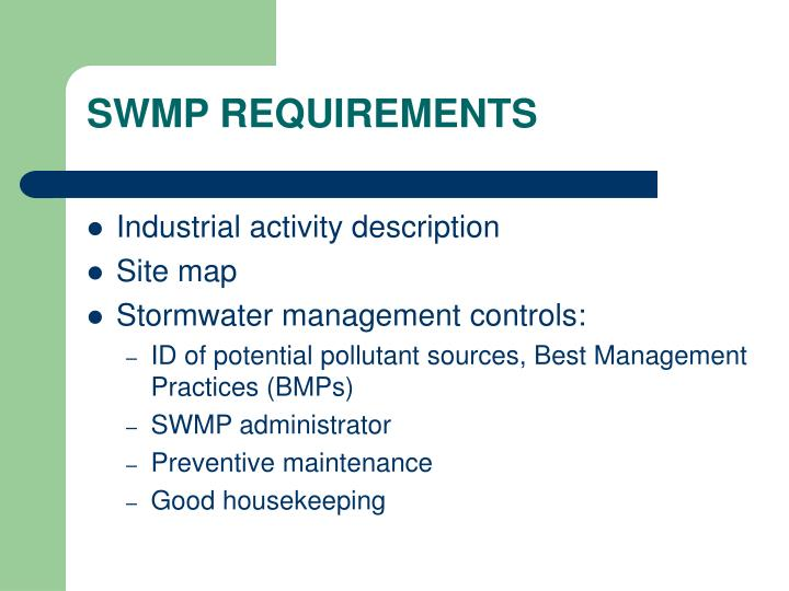SWMP REQUIREMENTS