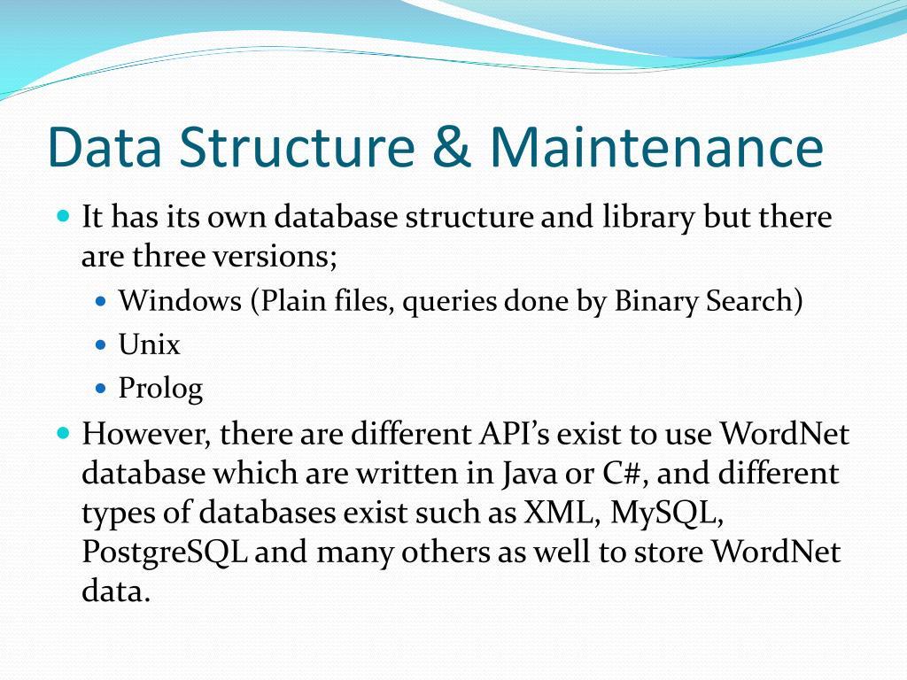 Data Structure & Maintenance