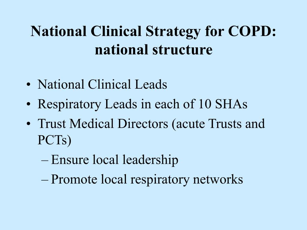 National Clinical Strategy for COPD: national structure