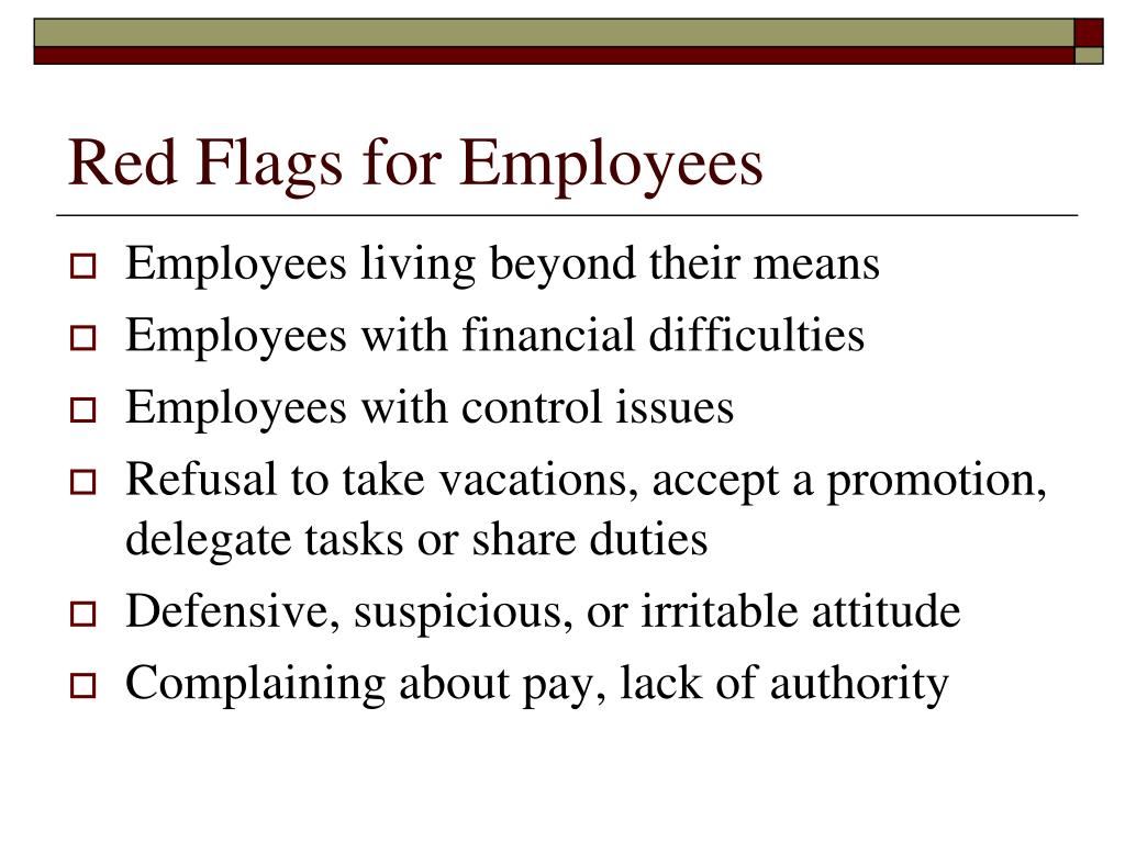 Red Flags for Employees