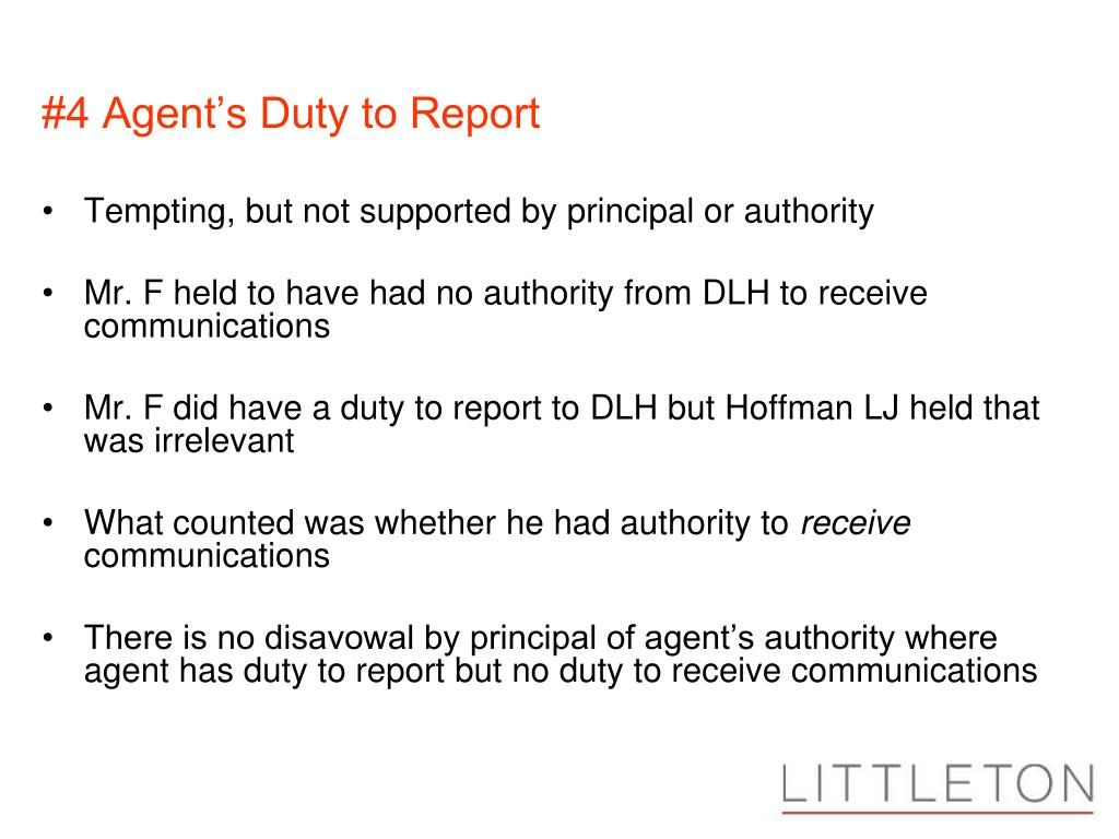#4 Agent's Duty to Report