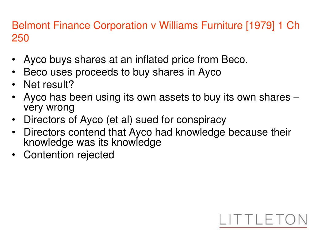 Belmont Finance Corporation v Williams Furniture [1979] 1 Ch 250
