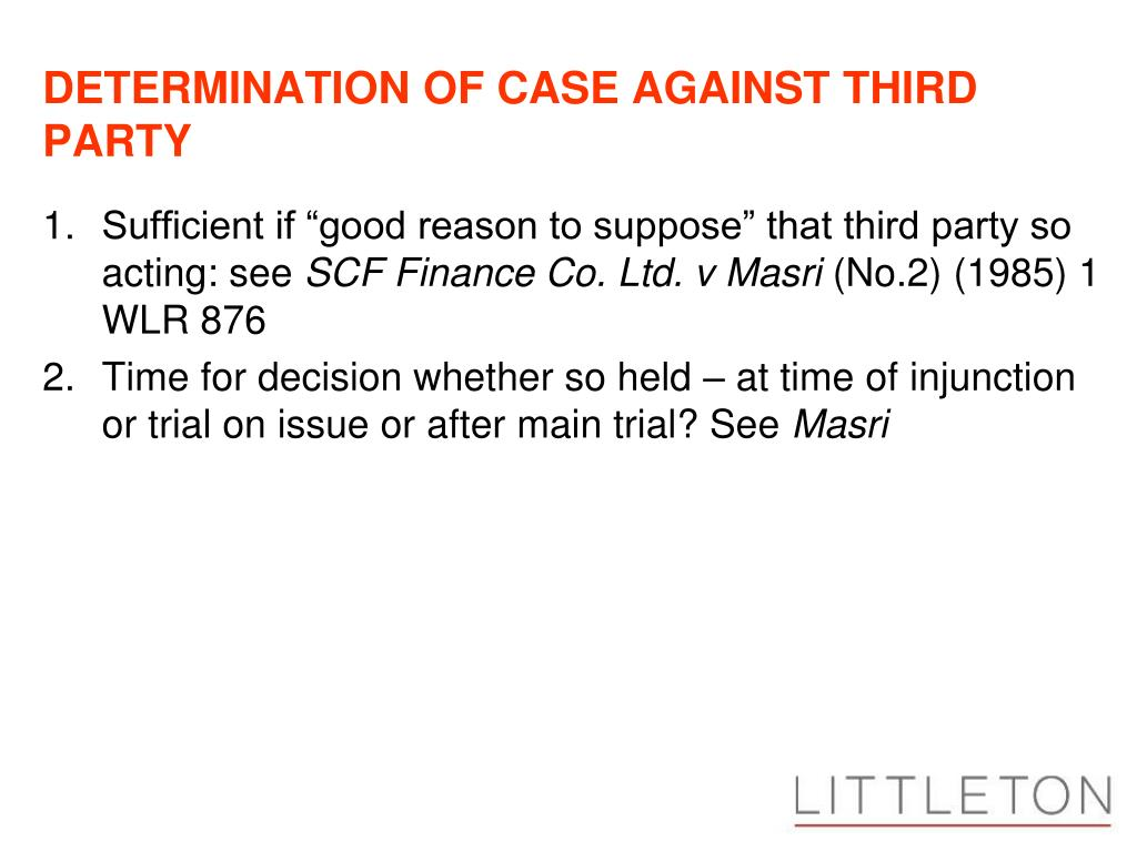 DETERMINATION OF CASE AGAINST THIRD PARTY