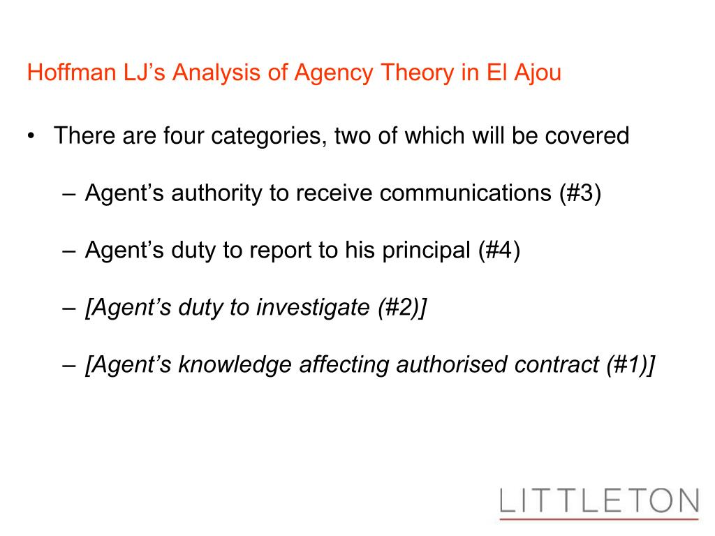 Hoffman LJ's Analysis of Agency Theory in El Ajou