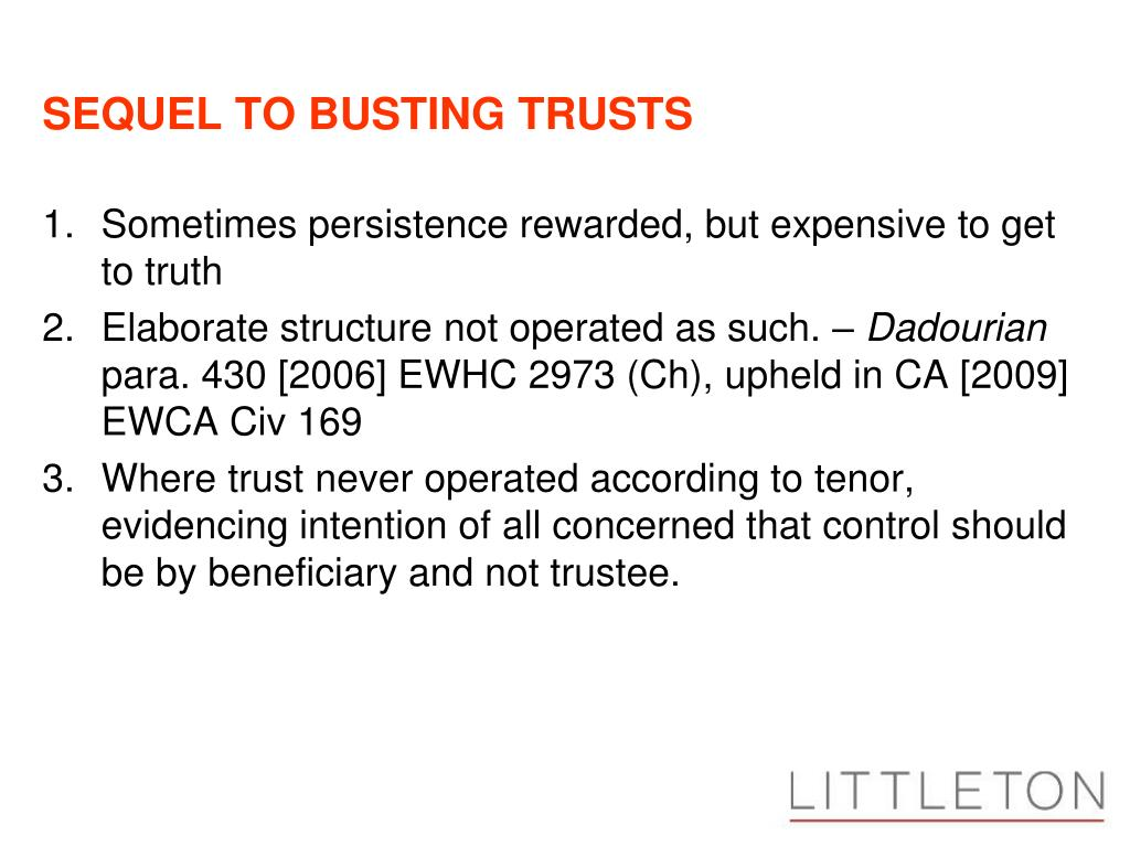 SEQUEL TO BUSTING TRUSTS