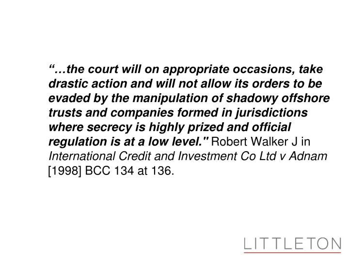 """…the court will on appropriate occasions, take 	drastic action and will not allow its orders to..."