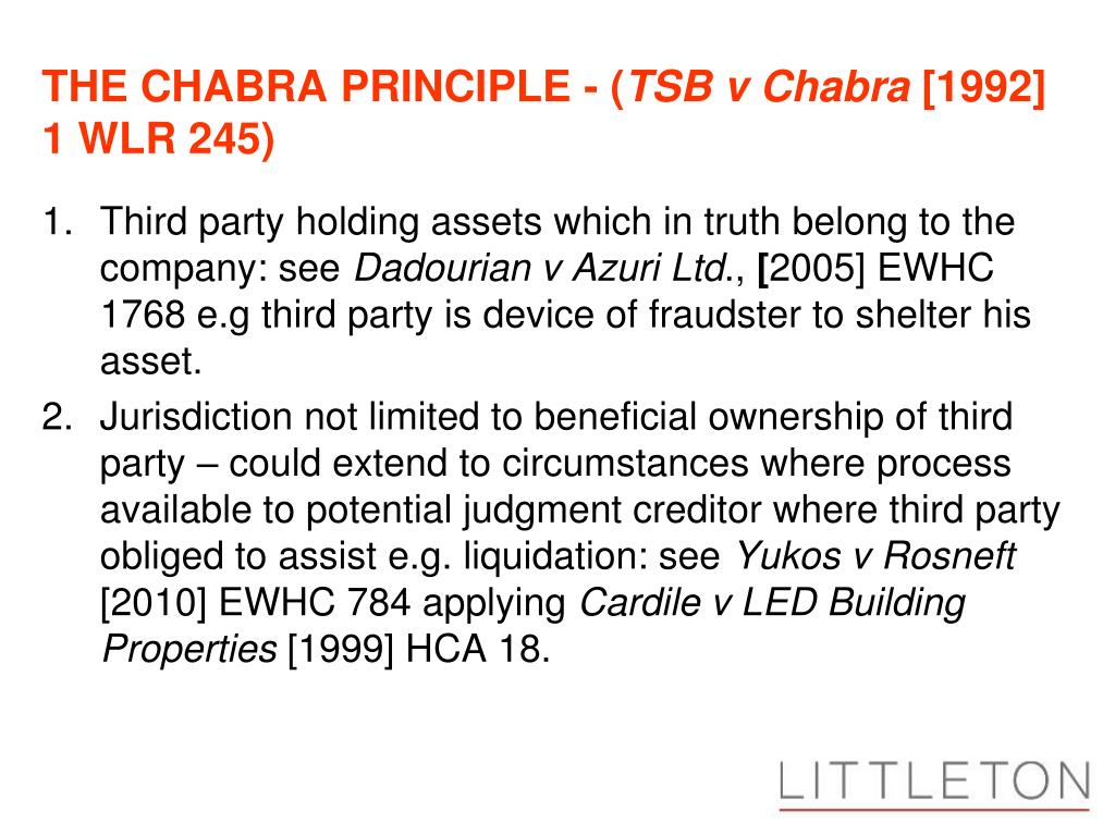 THE CHABRA PRINCIPLE - (