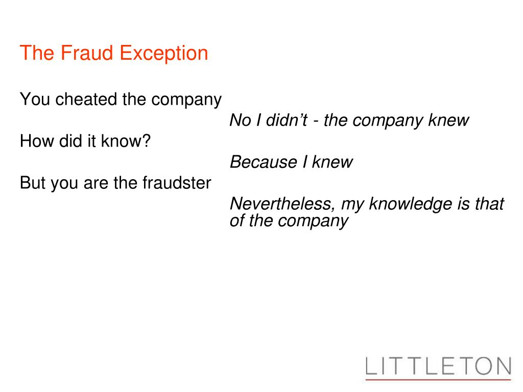 The Fraud Exception
