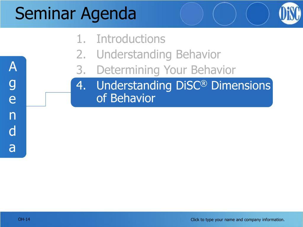 Seminar Agenda