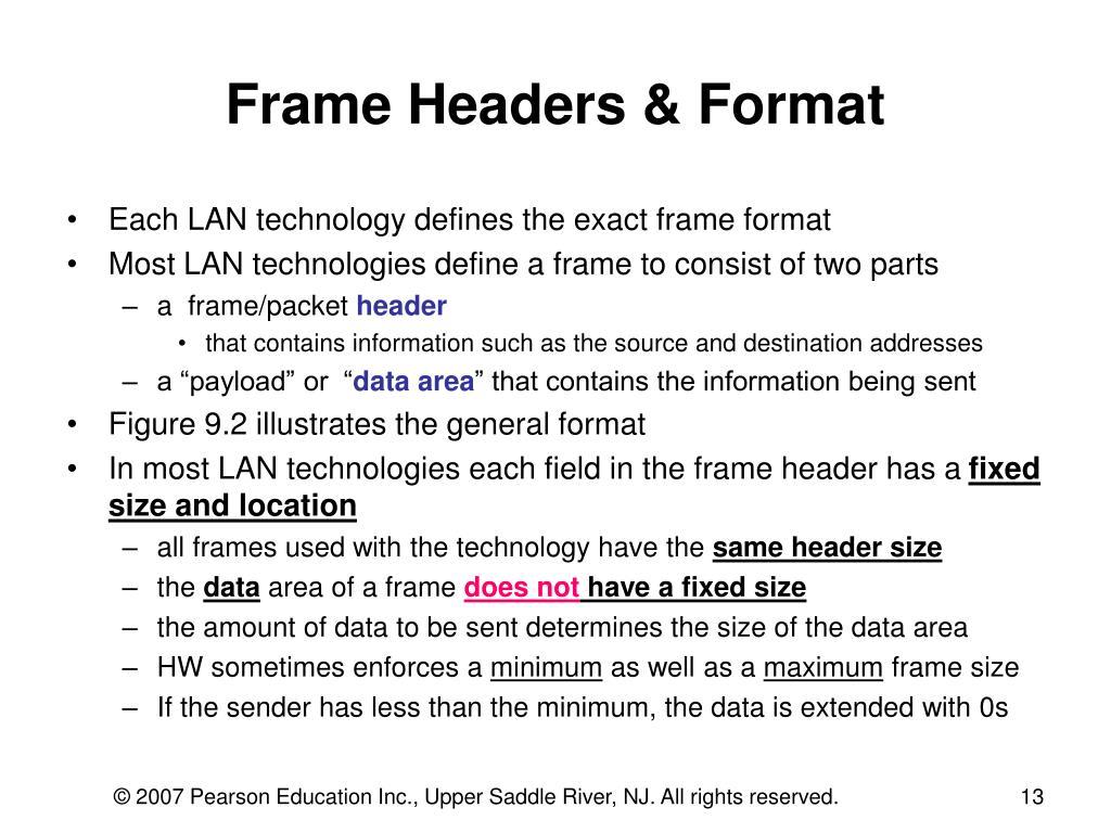 Frame Headers & Format