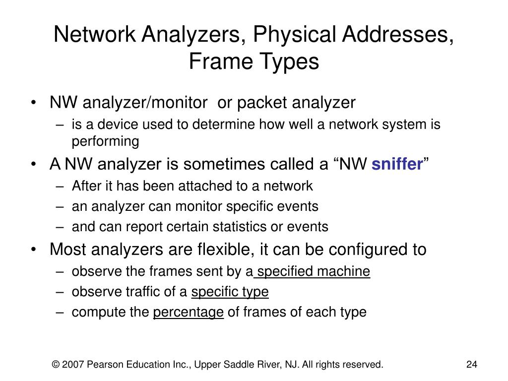 Network Analyzers, Physical Addresses, Frame Types