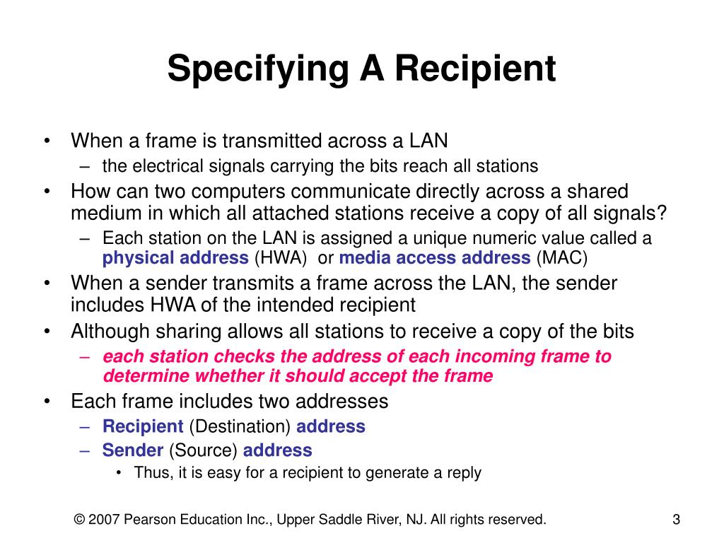 Specifying A Recipient