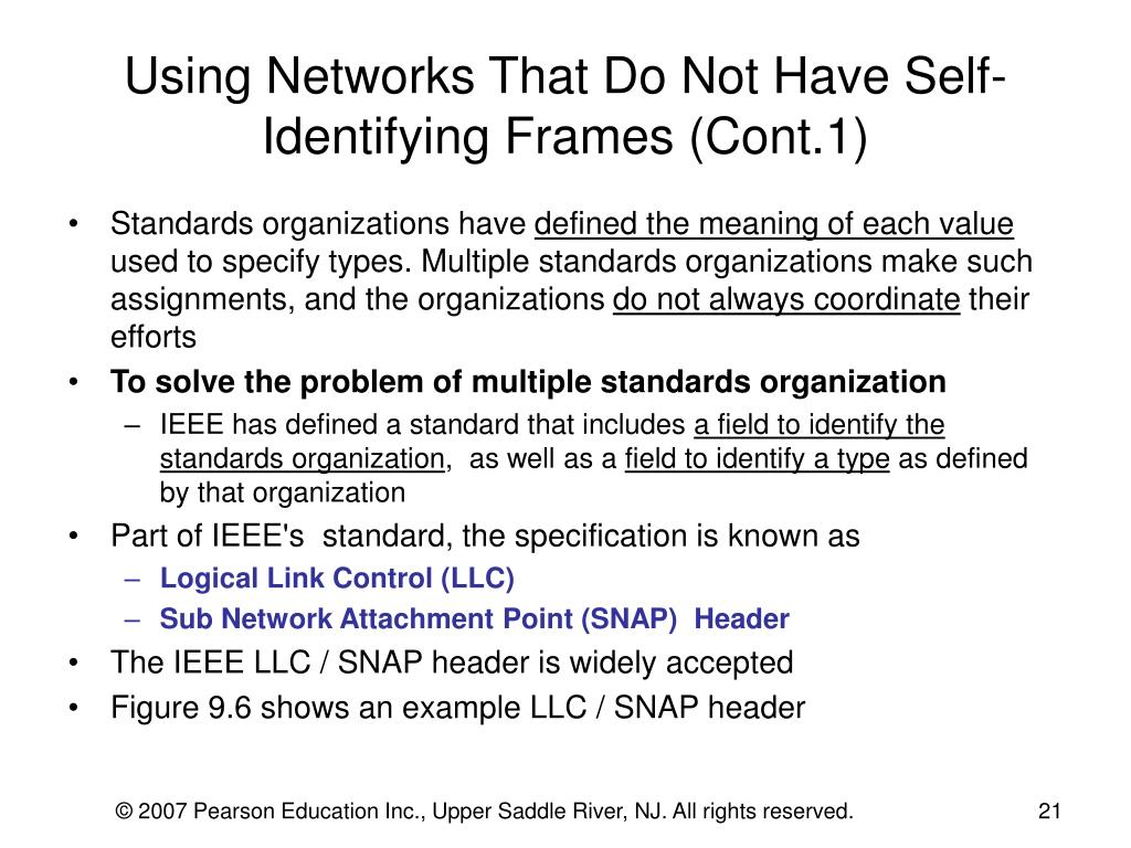 Using Networks That Do Not Have Self-Identifying Frames (Cont.1)