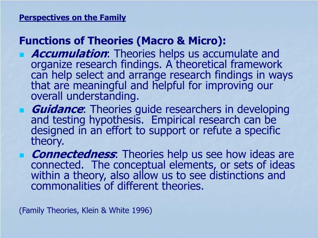 Functions of Theories (Macro & Micro):
