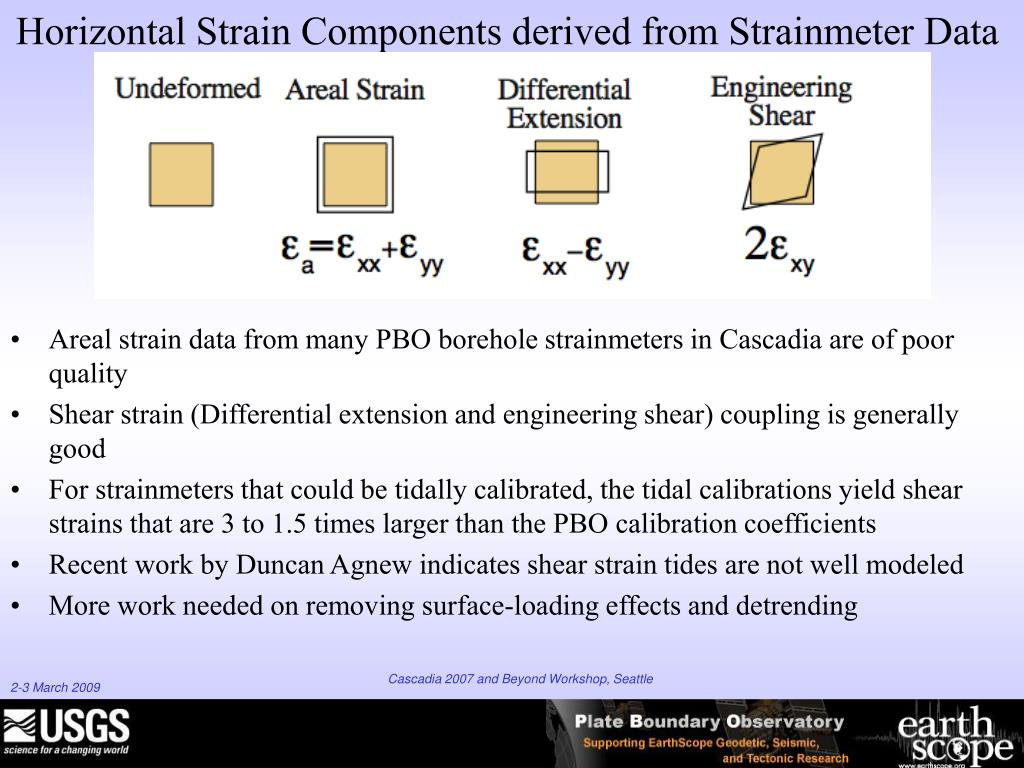 Areal strain data from many PBO borehole strainmeters in Cascadia are of poor quality