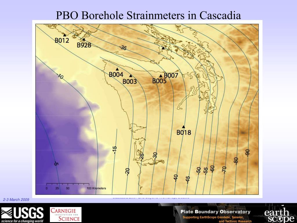 PBO Borehole Strainmeters in Cascadia