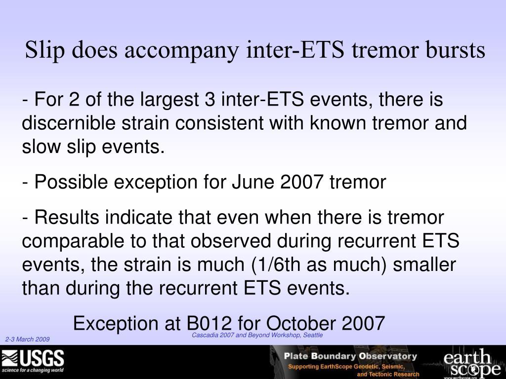 Slip does accompany inter-ETS tremor bursts