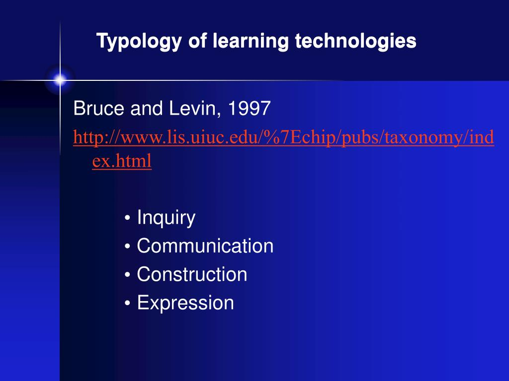 Typology of learning technologies
