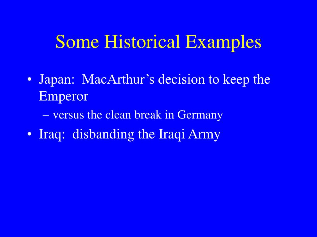 Some Historical Examples