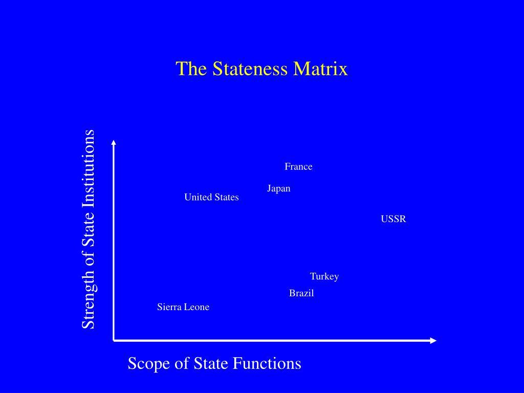 The Stateness Matrix