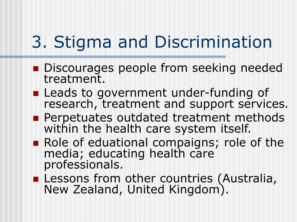 stigma and discrimination This study examined the role of values, affect, and deservingness judgments in  health professionals' views of patients with stigmatized.