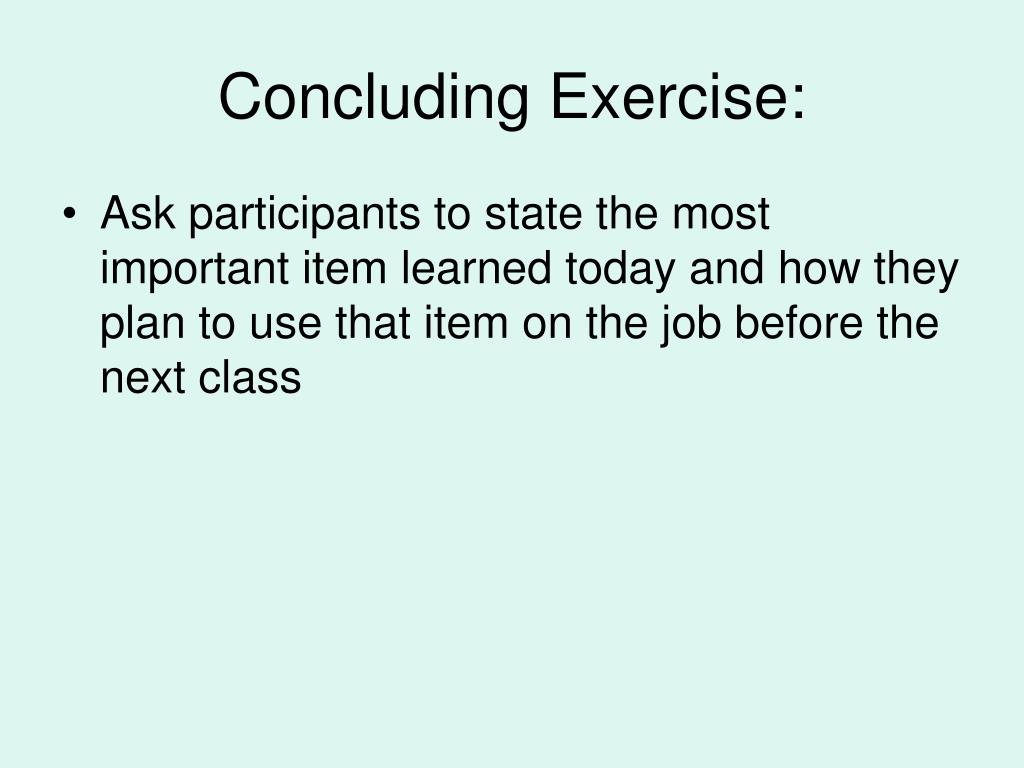 Concluding Exercise: