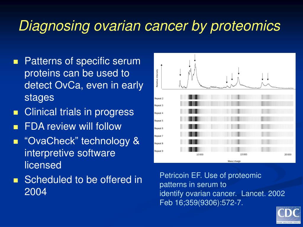 Diagnosing ovarian cancer by proteomics